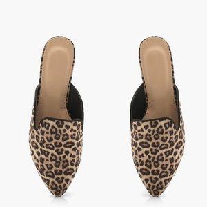 Cheetah print mules